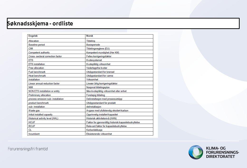 Søknadsskjema - ordliste
