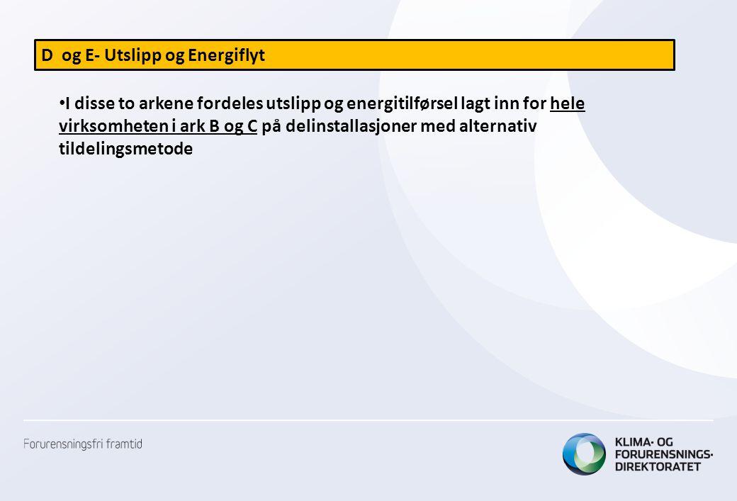 D og E- Utslipp og Energiflyt