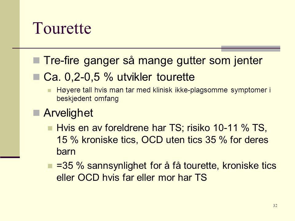 Tourette Tre-fire ganger så mange gutter som jenter