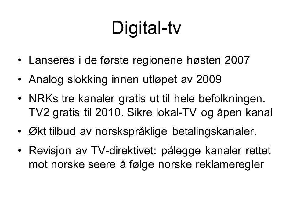 Digital-tv Lanseres i de første regionene høsten 2007