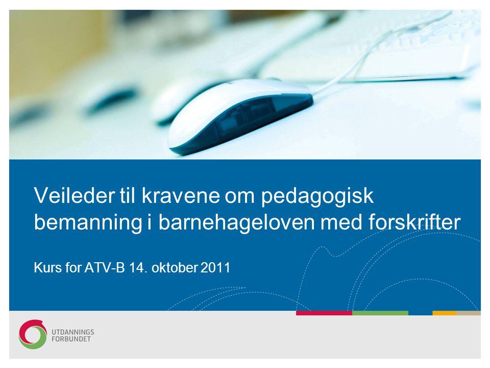 Veileder til kravene om pedagogisk bemanning i barnehageloven med forskrifter