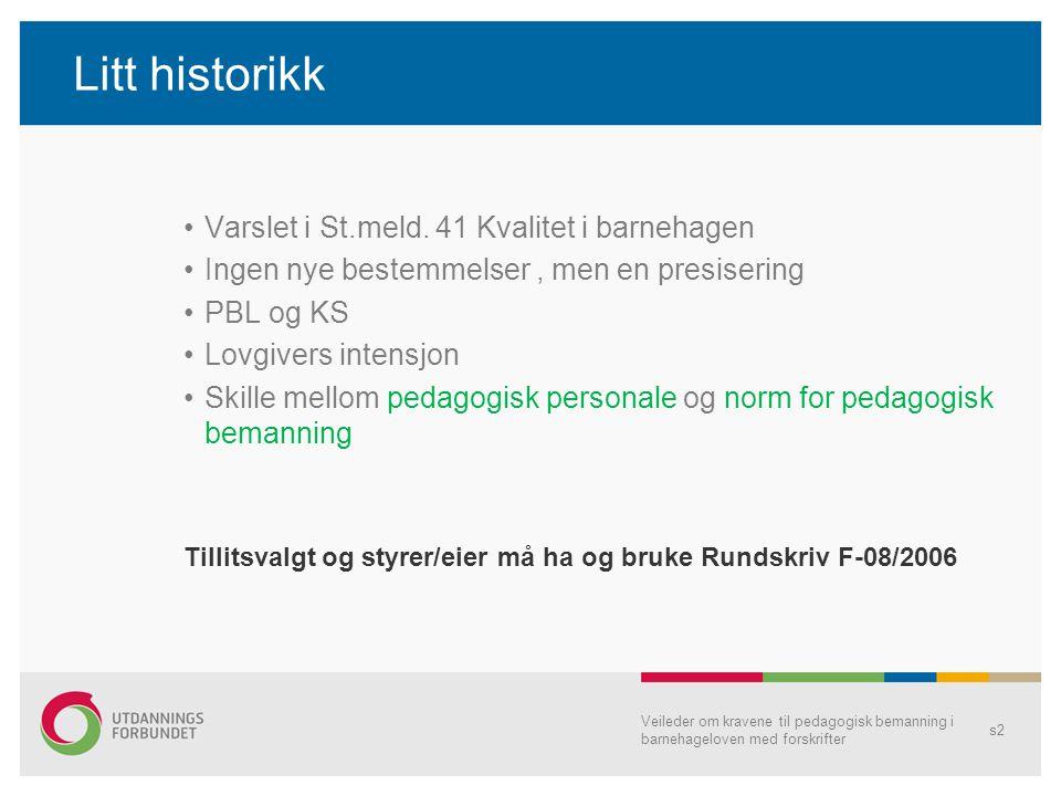 Litt historikk Varslet i St.meld. 41 Kvalitet i barnehagen