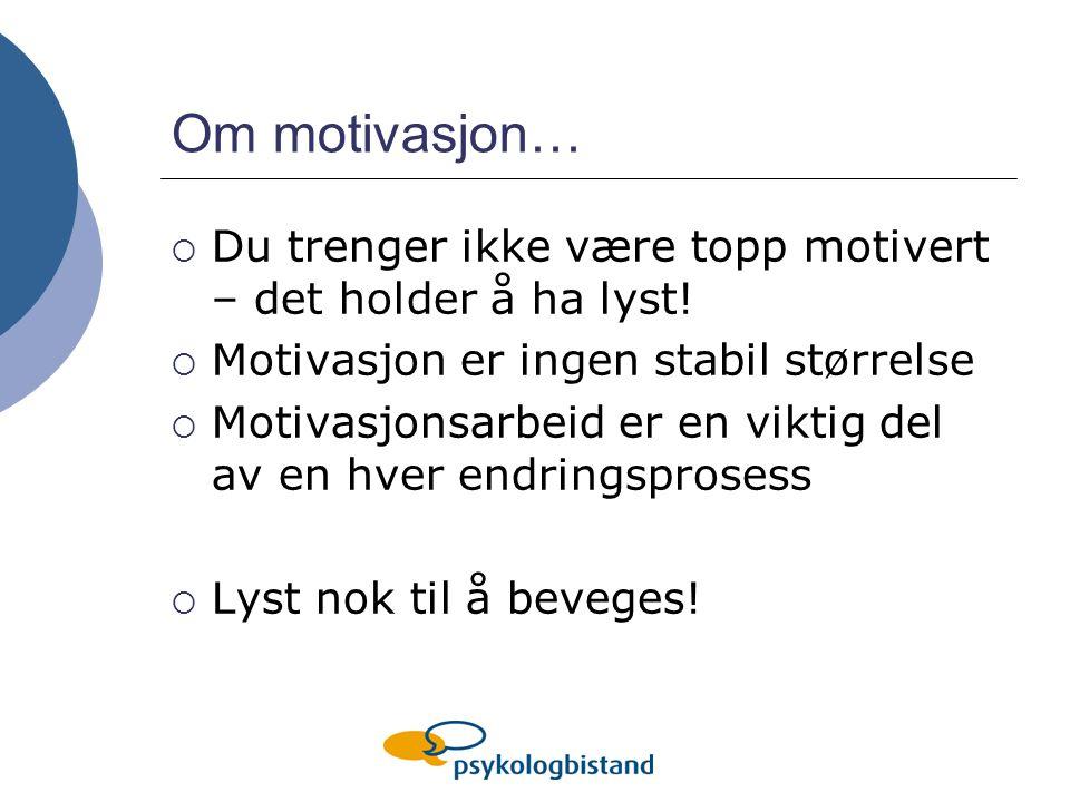 Om motivasjon… Du trenger ikke være topp motivert – det holder å ha lyst! Motivasjon er ingen stabil størrelse.