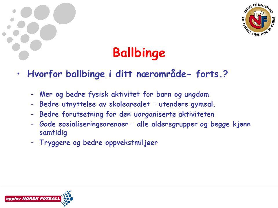 Ballbinge Hvorfor ballbinge i ditt nærområde- forts.