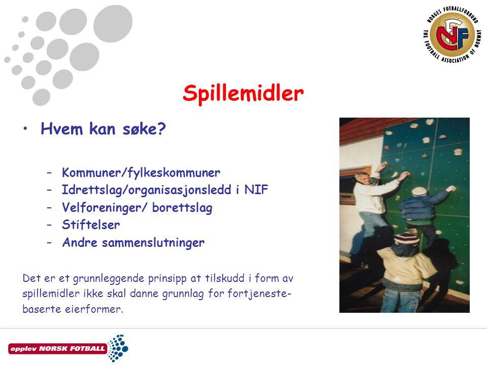 Spillemidler Hvem kan søke Kommuner/fylkeskommuner