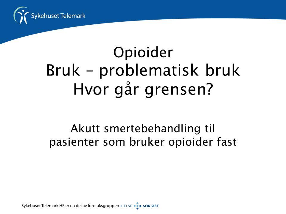 Opioider Bruk – problematisk bruk Hvor går grensen