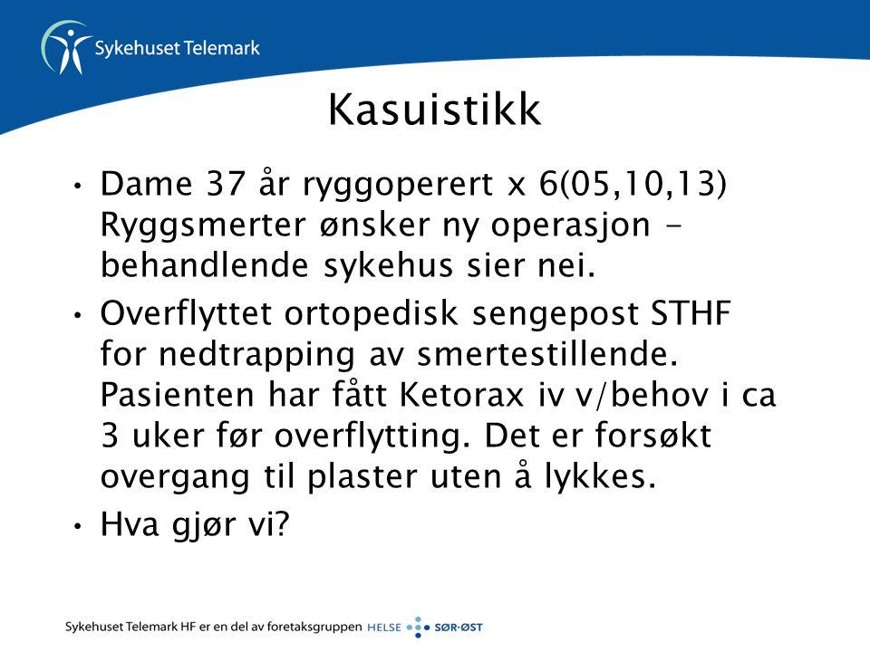 Kasuistikk Dame 37 år ryggoperert x 6(05,10,13) Ryggsmerter ønsker ny operasjon - behandlende sykehus sier nei.