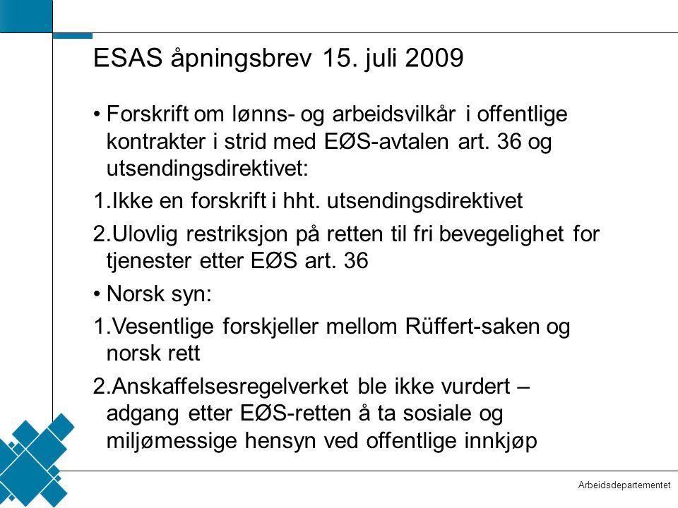 ESAS åpningsbrev 15. juli 2009