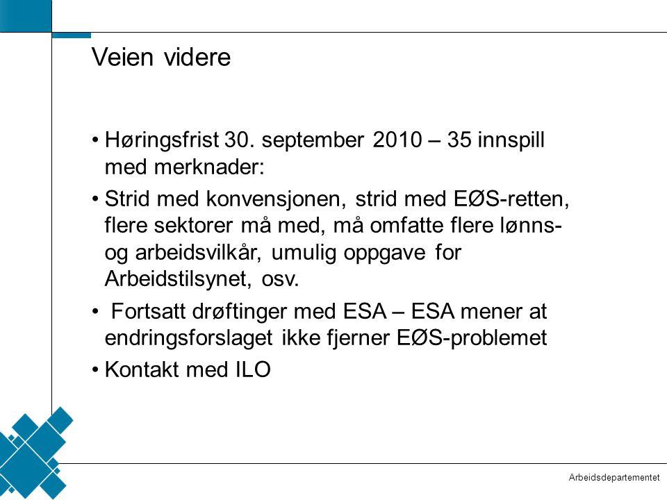 Veien videre Høringsfrist 30. september 2010 – 35 innspill med merknader: