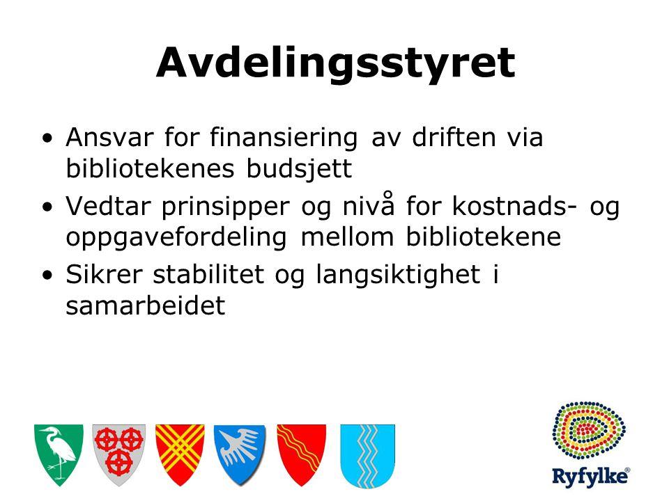 Avdelingsstyret Ansvar for finansiering av driften via bibliotekenes budsjett.