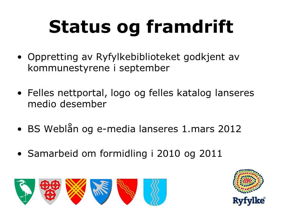 Status og framdrift Oppretting av Ryfylkebiblioteket godkjent av kommunestyrene i september.