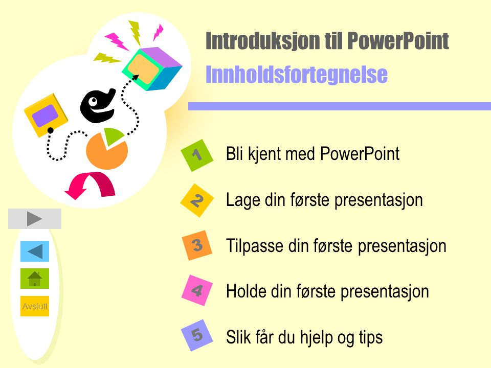 Introduksjon til PowerPoint Innholdsfortegnelse