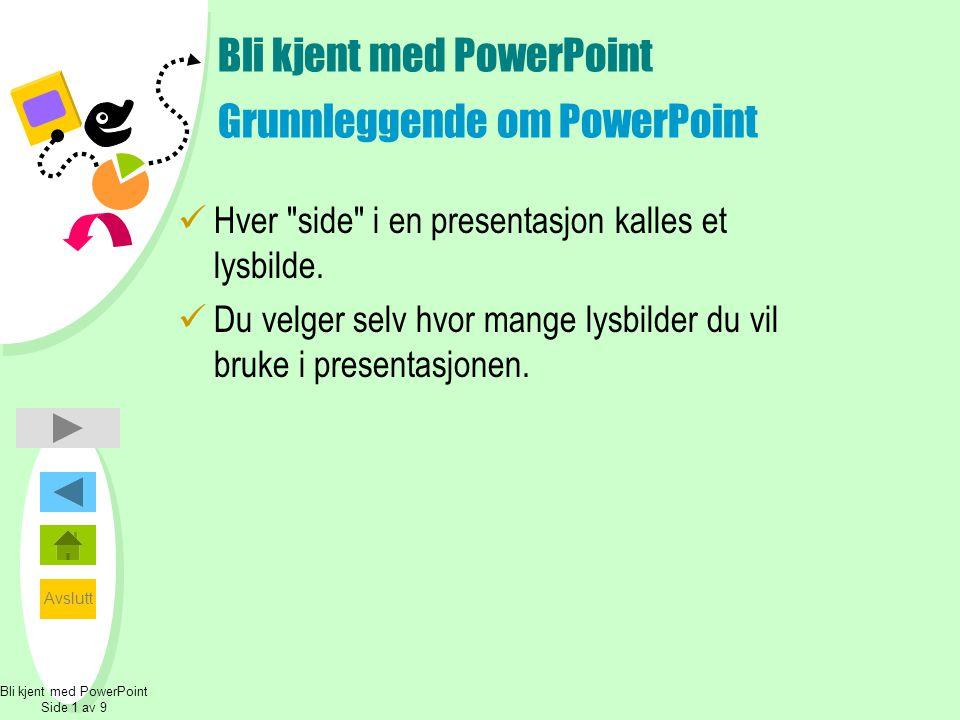 Bli kjent med PowerPoint Grunnleggende om PowerPoint