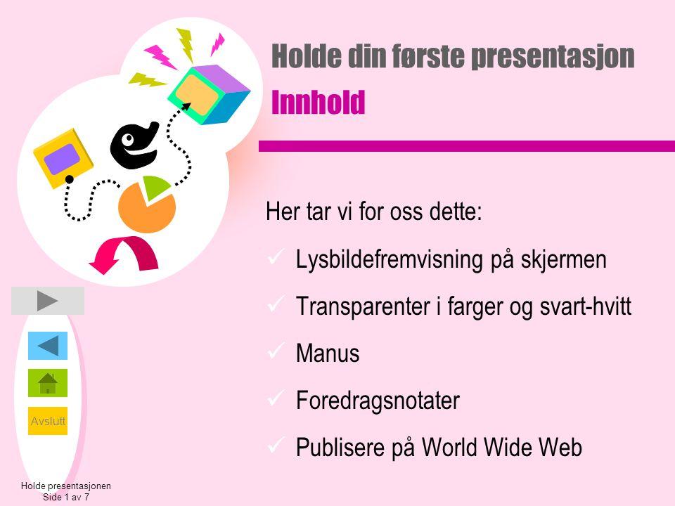Holde din første presentasjon Innhold