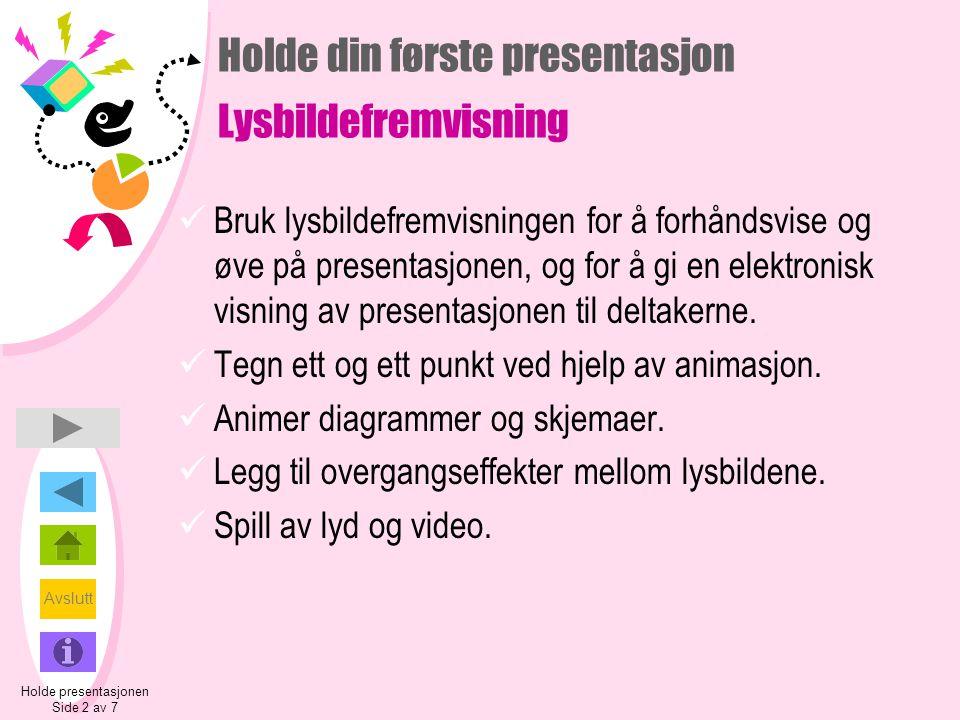 Holde din første presentasjon Lysbildefremvisning