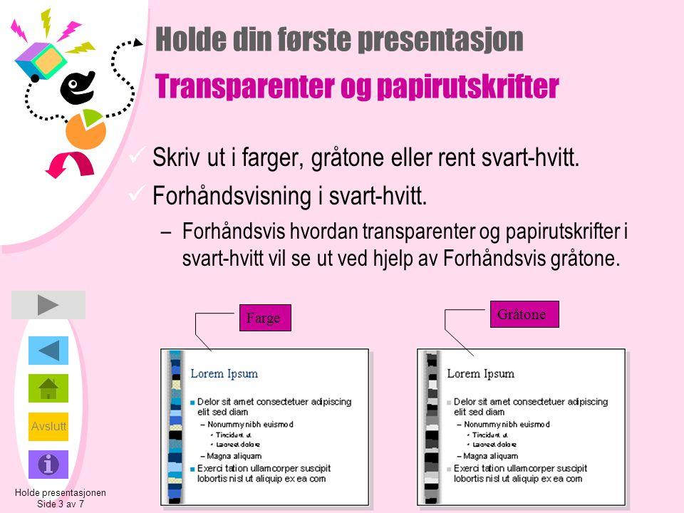 Holde din første presentasjon Transparenter og papirutskrifter