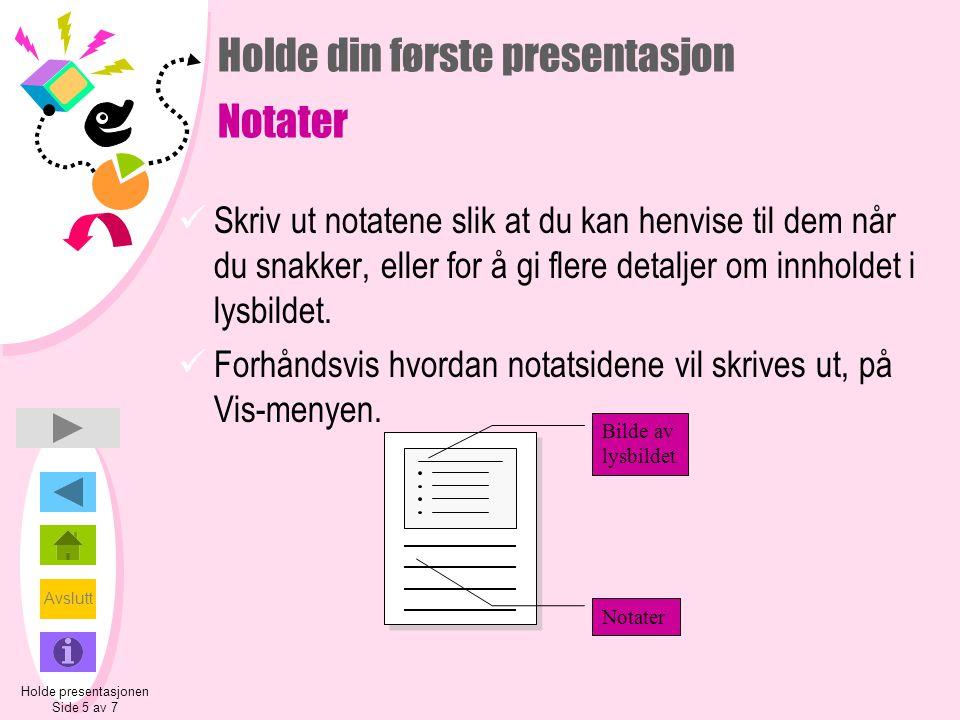 Holde din første presentasjon Notater