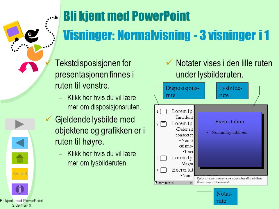 Bli kjent med PowerPoint Visninger: Normalvisning - 3 visninger i 1