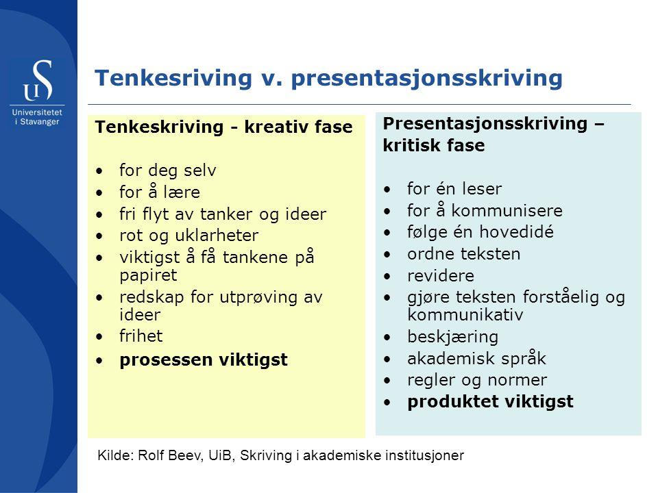 Tenkesriving v. presentasjonsskriving