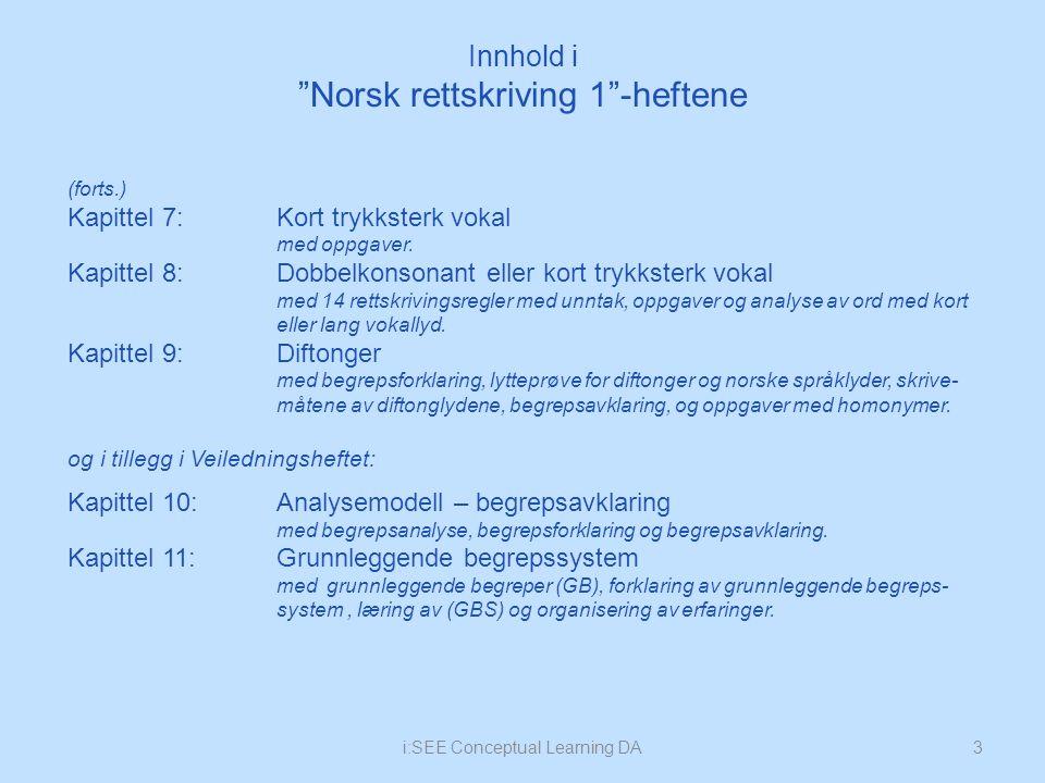 Innhold i Norsk rettskriving 1 -heftene