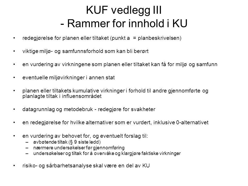 KUF vedlegg III - Rammer for innhold i KU