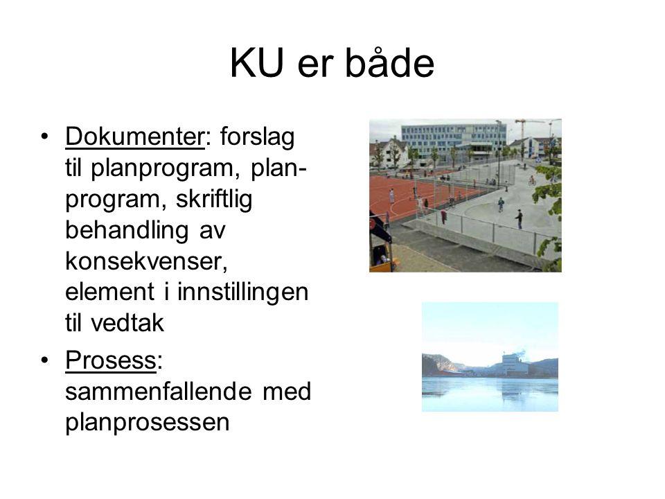 KU er både Dokumenter: forslag til planprogram, plan-program, skriftlig behandling av konsekvenser, element i innstillingen til vedtak.