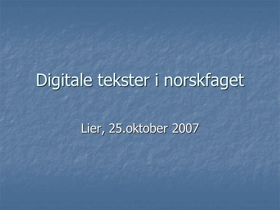 Digitale tekster i norskfaget