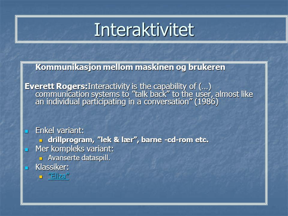 Interaktivitet Kommunikasjon mellom maskinen og brukeren
