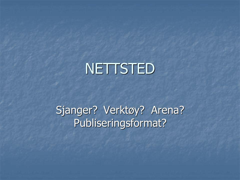 Sjanger Verktøy Arena Publiseringsformat