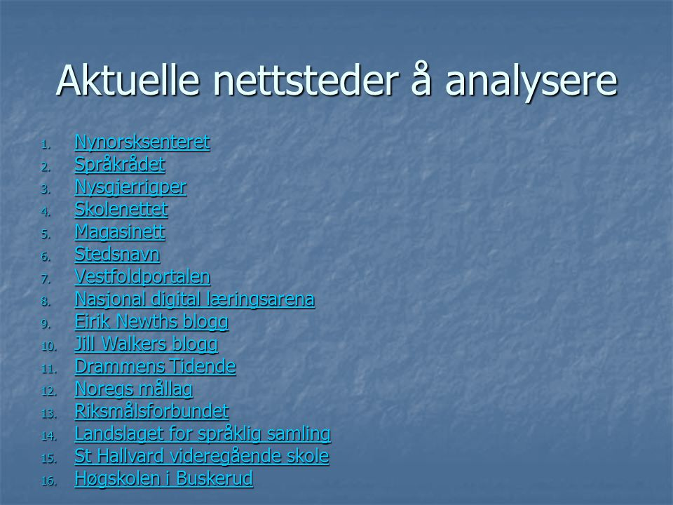 Aktuelle nettsteder å analysere