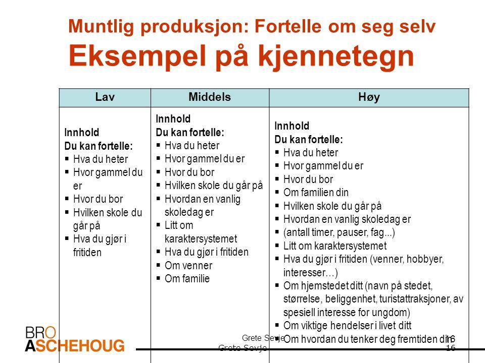 Muntlig produksjon: Fortelle om seg selv Eksempel på kjennetegn