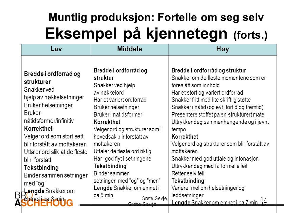 Muntlig produksjon: Fortelle om seg selv Eksempel på kjennetegn (forts