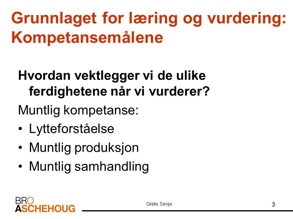 Grunnlaget for læring og vurdering: Kompetansemålene