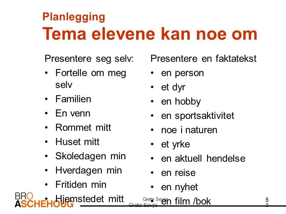 Planlegging Tema elevene kan noe om