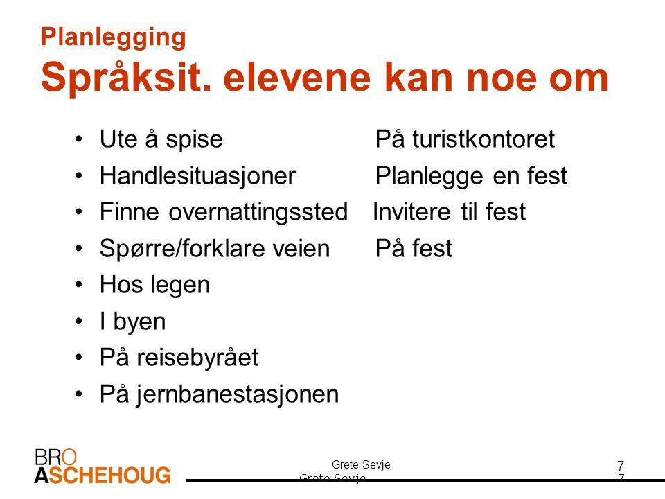 Planlegging Språksit. elevene kan noe om