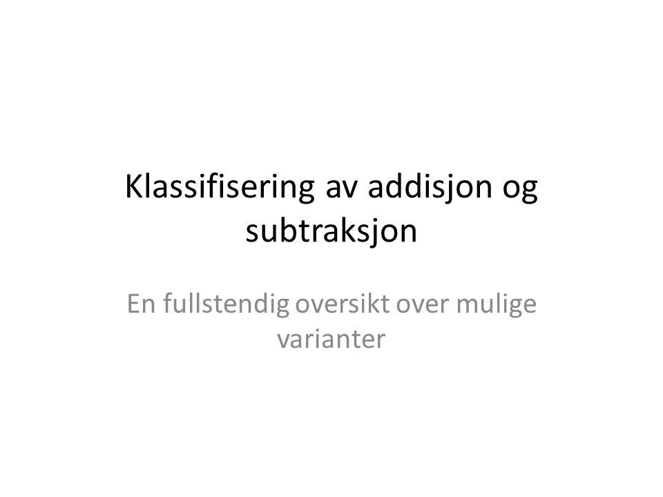 Klassifisering av addisjon og subtraksjon