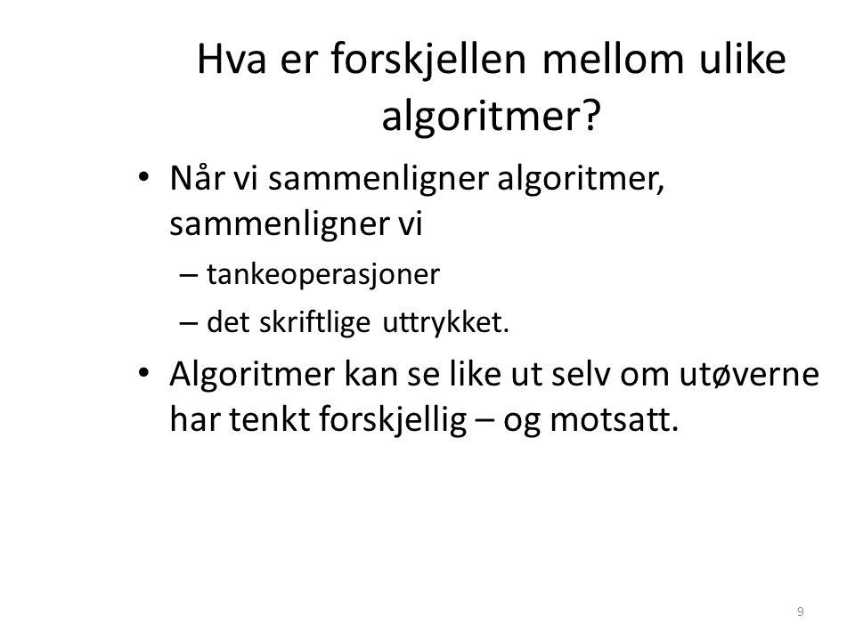 Hva er forskjellen mellom ulike algoritmer