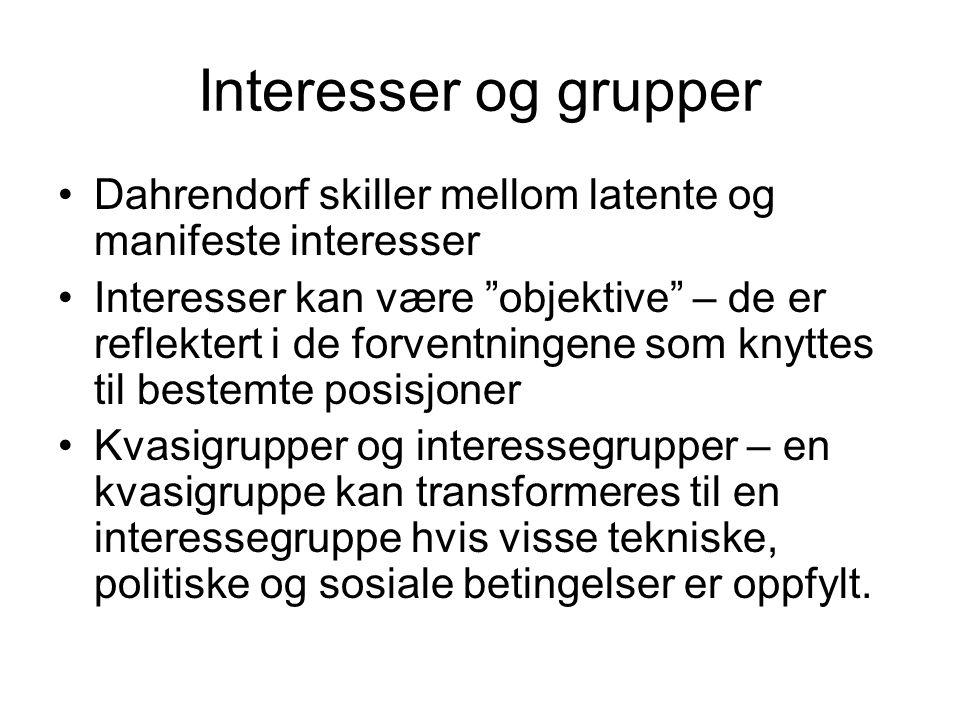 Interesser og grupper Dahrendorf skiller mellom latente og manifeste interesser.