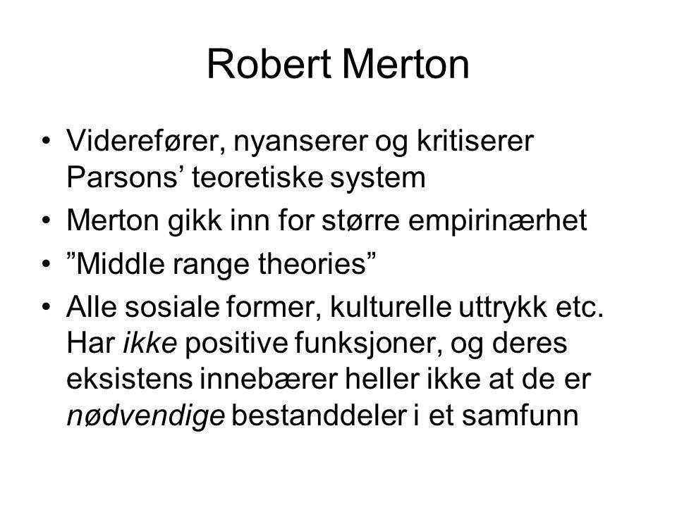 Robert Merton Viderefører, nyanserer og kritiserer Parsons' teoretiske system. Merton gikk inn for større empirinærhet.