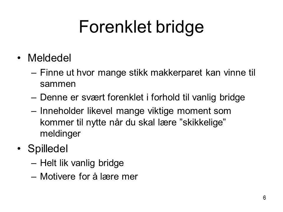 Forenklet bridge Meldedel Spilledel