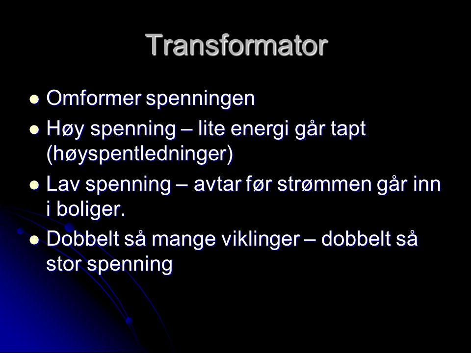 Transformator Omformer spenningen