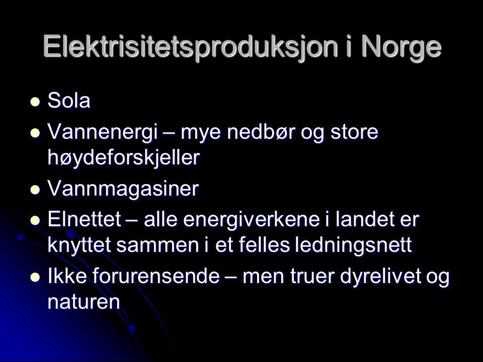 Elektrisitetsproduksjon i Norge
