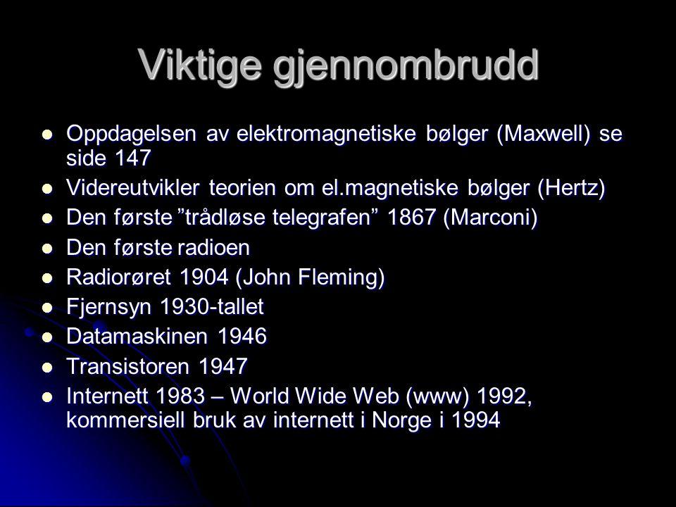 Viktige gjennombrudd Oppdagelsen av elektromagnetiske bølger (Maxwell) se side 147. Videreutvikler teorien om el.magnetiske bølger (Hertz)