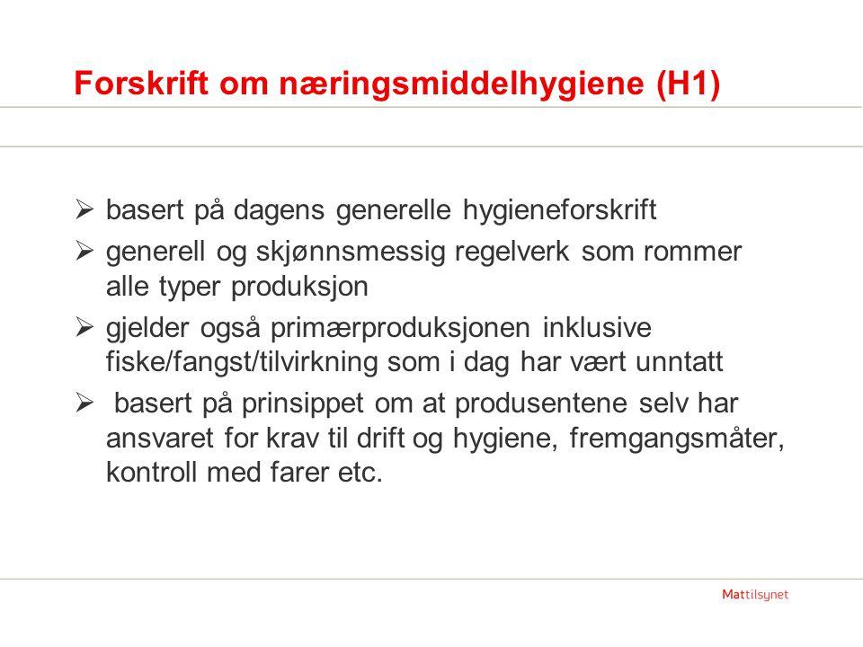 Forskrift om næringsmiddelhygiene (H1)