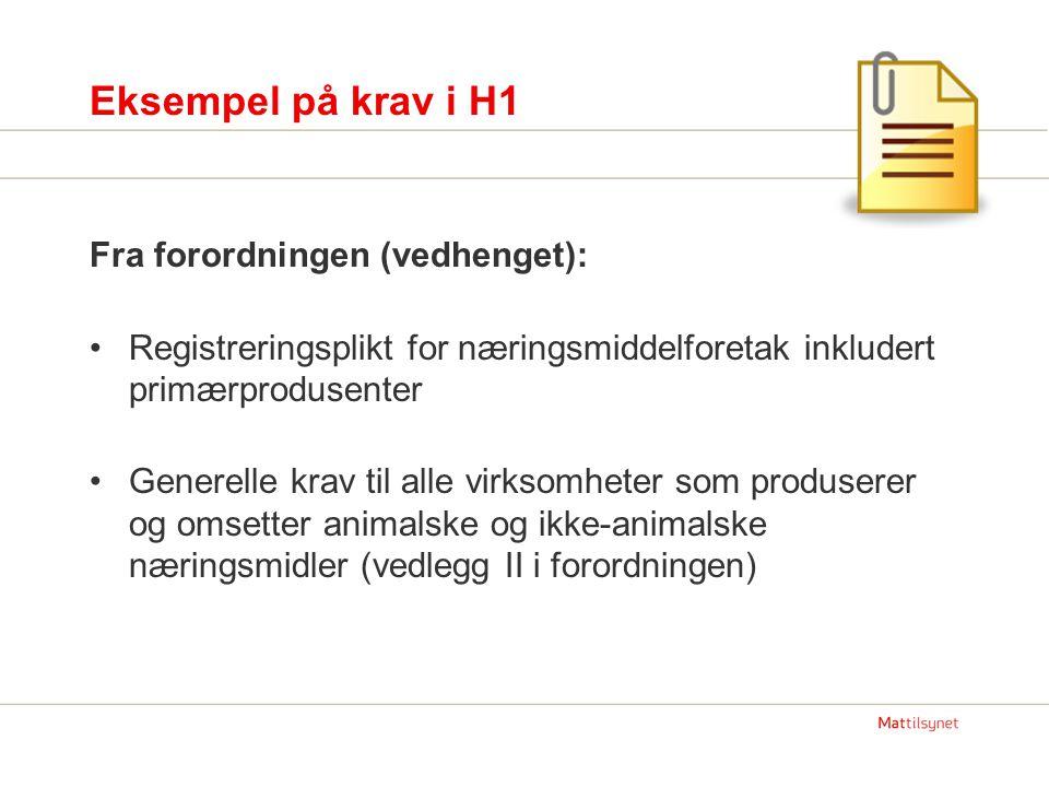 Eksempel på krav i H1 Fra forordningen (vedhenget):