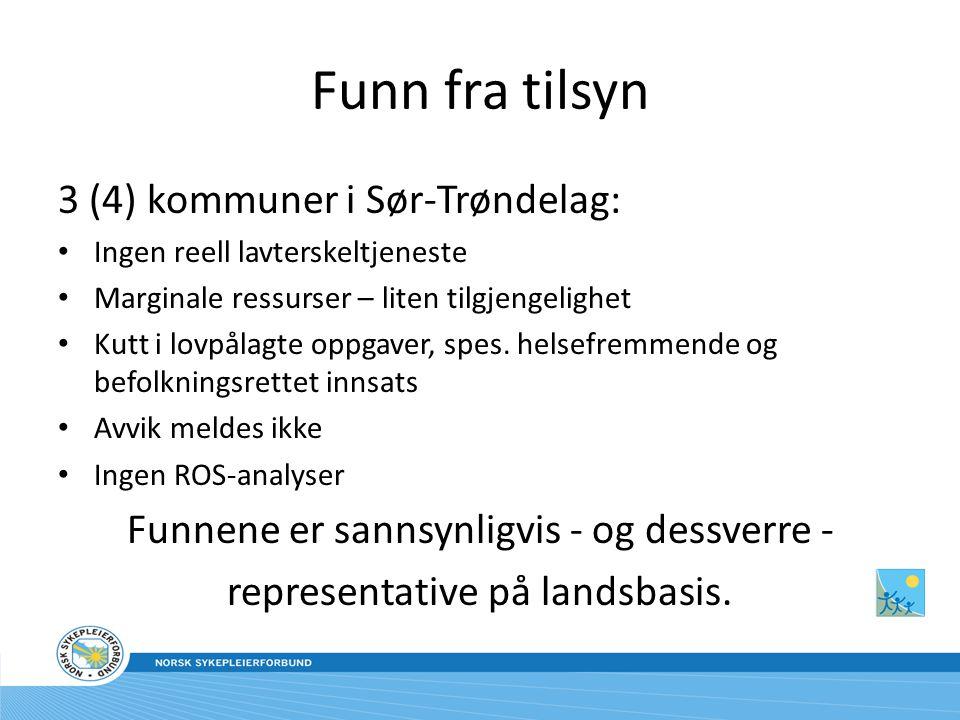 Funn fra tilsyn 3 (4) kommuner i Sør-Trøndelag: