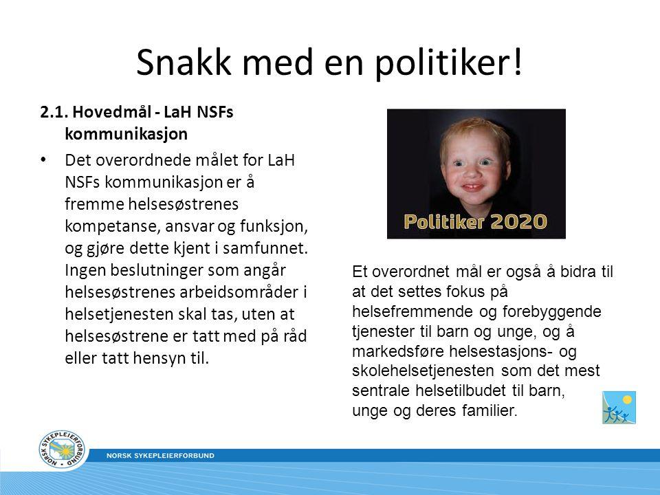 Snakk med en politiker! 2.1. Hovedmål - LaH NSFs kommunikasjon