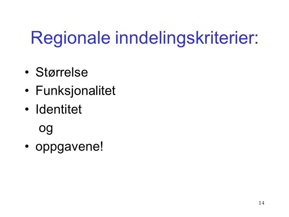 Regionale inndelingskriterier: