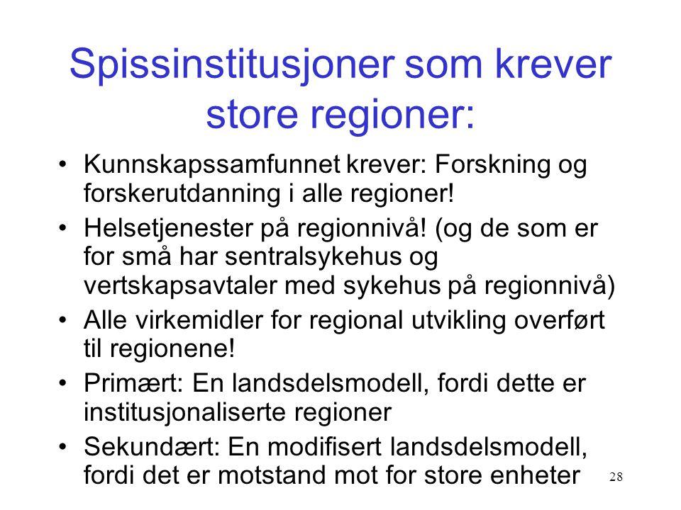 Spissinstitusjoner som krever store regioner: