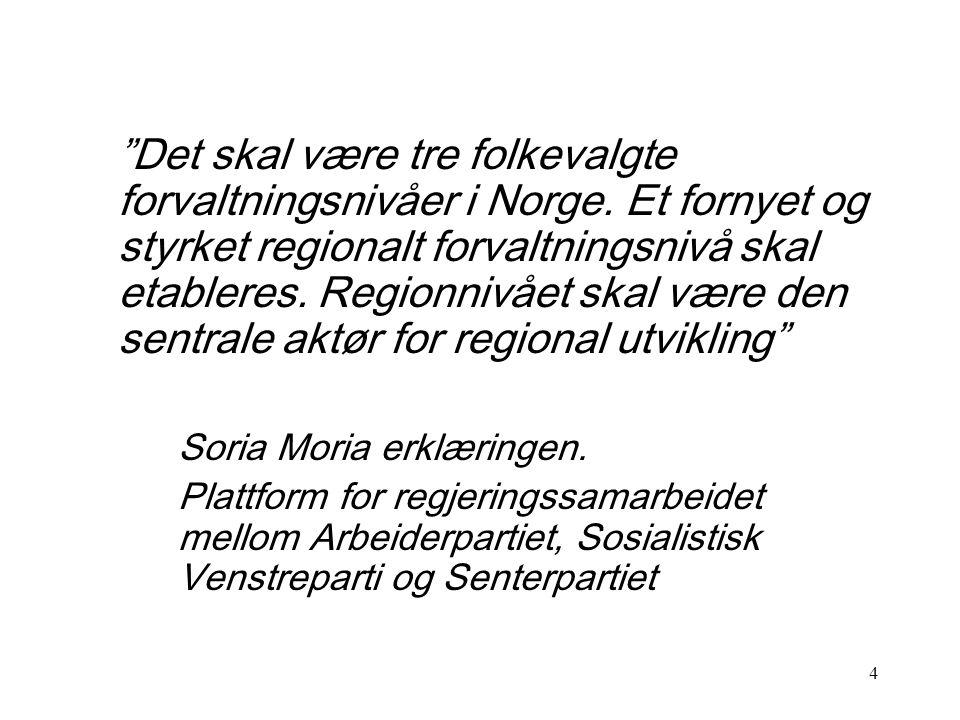 Det skal være tre folkevalgte forvaltningsnivåer i Norge